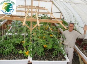 Photo shows our VERY EARLY designs we used for gravel-filled grow beds in the Portable Farms. Our design for grow beds are radically improved today and are FAR more efficient.
