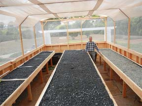 A newly constructed Portable Farms® Aquaponics System prior to planting or installing fish in tanks.