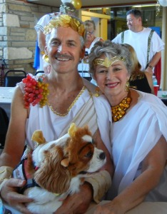 Colle Phyllis and Dolly Davis Dressed for a Toga Party. HAPPY HALLOWEEN!