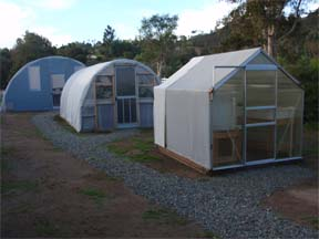 These hoop houses for aquaponics systems were a DISASTER because there was not enough space above the side grow trays for air circulation and the walls would be hot and burn the plants and heat the gravel. We do NOT recommend hoop houses for aquaponics.