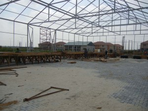 Preliminary installation stages for greenhouse to house Portable Farms Aquaponics System in Legos Nigeria.