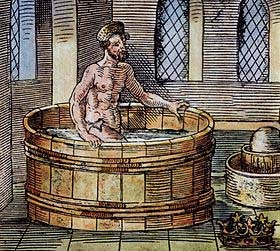 (From Wikipedia) 16th-century illustration of Archimedes in the bath, with Hiero's crown at bottom right.
