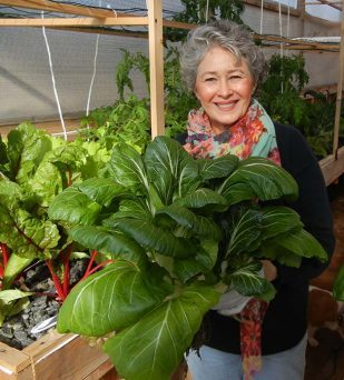 Phyllis Davis holding a single head of Bok Choy grown in a Portable Farm.